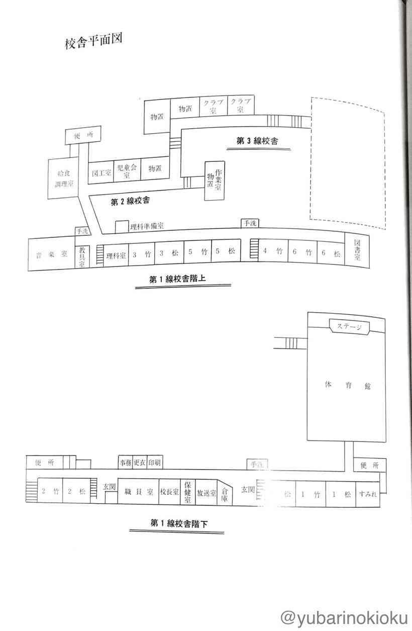 旧清水沢小学校の平面図