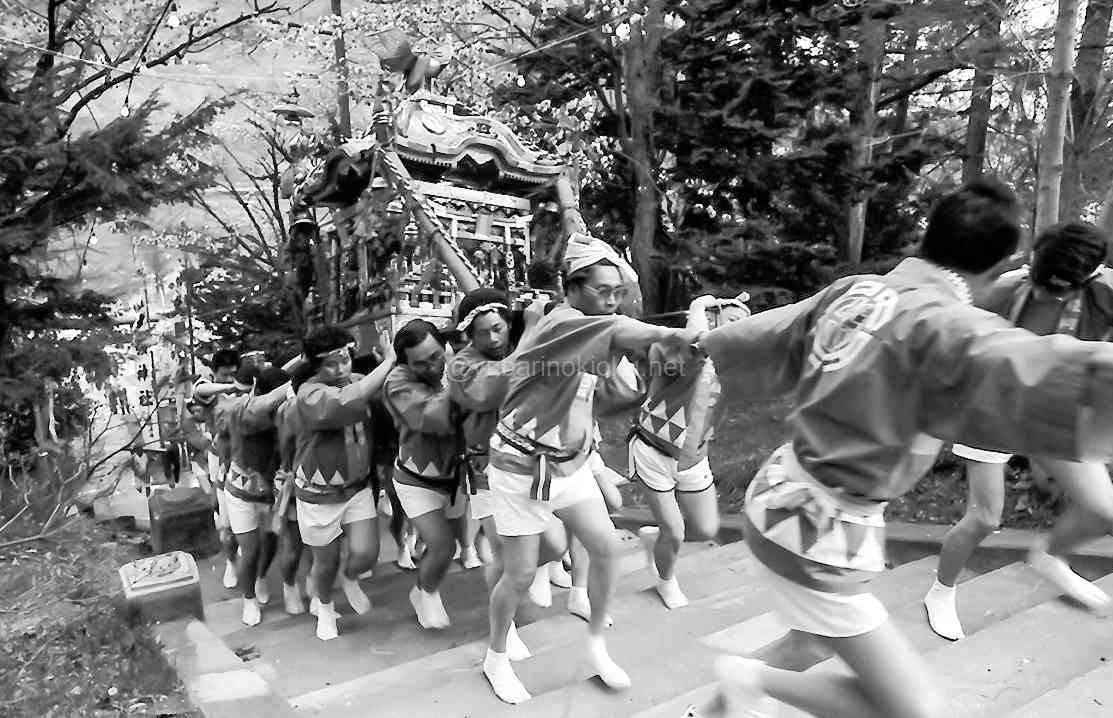 夕張神社の参道を駆け上がる炭山祭りの神輿(昭和57年)